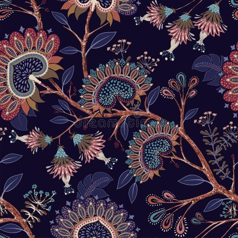 Красочные обои с Пейсли и декоративными заводами Батик вектора индонезийский флористический Индеец вектора декоративный иллюстрация вектора