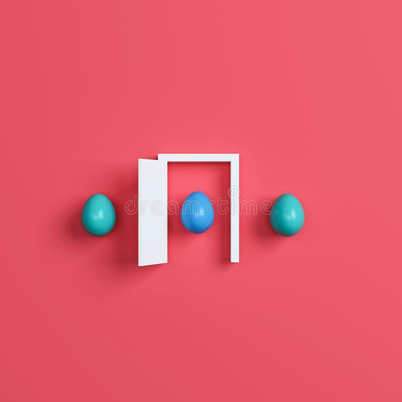 Красочные пасхальные яйца и дверь на красной предпосылке перевод 3d бесплатная иллюстрация