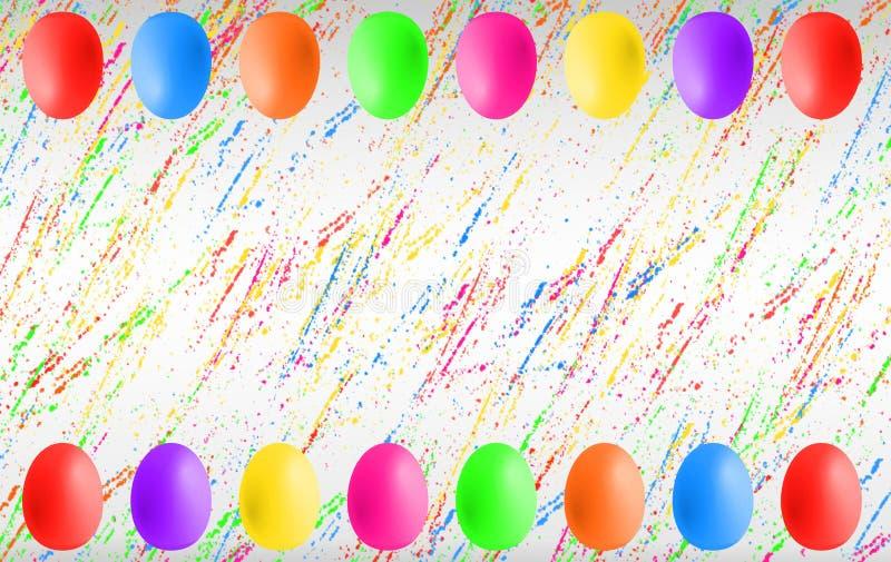 Красочные пасхальные яйца с copyspace стоковое фото rf