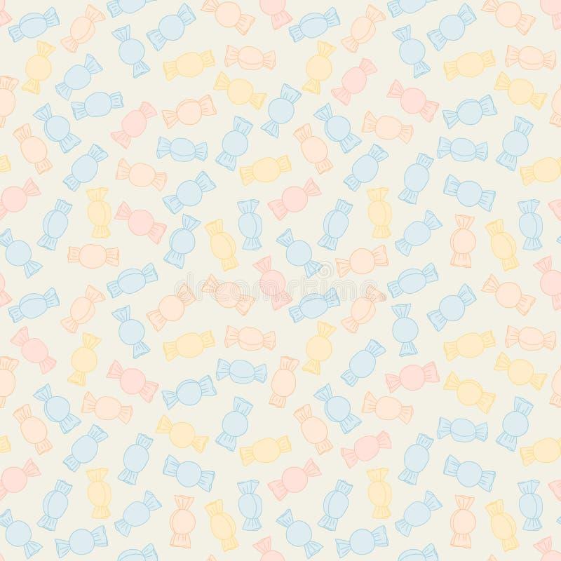 Красочные переплетенные конфеты картина безшовная Сладостная предпосылка еды иллюстрация штока