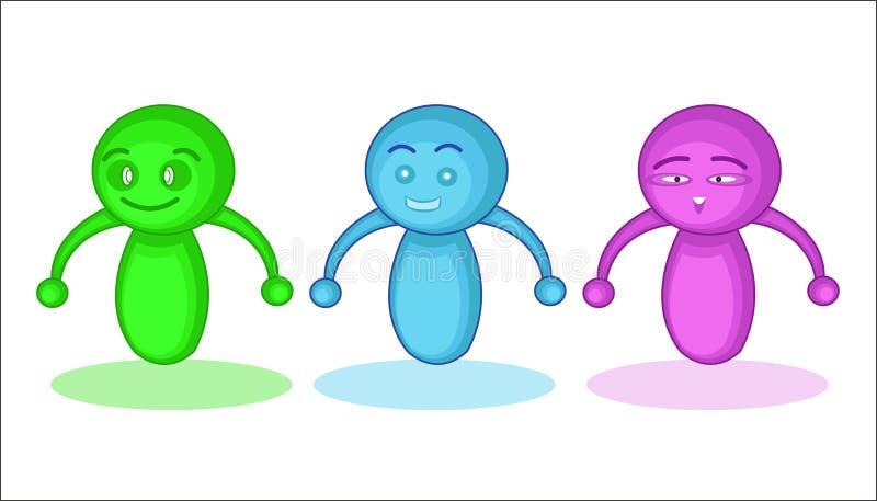 Красочные персонажи из мультфильма клоуна робота бесплатная иллюстрация