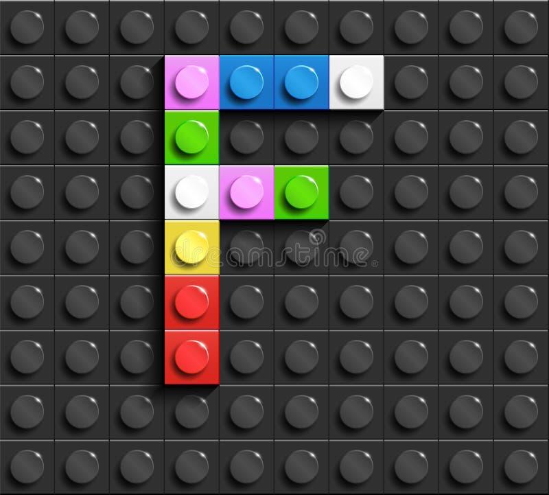 Красочные письма f алфавита от кирпичей lego здания на черной предпосылке кирпича lego предпосылка lego письма 3d бесплатная иллюстрация