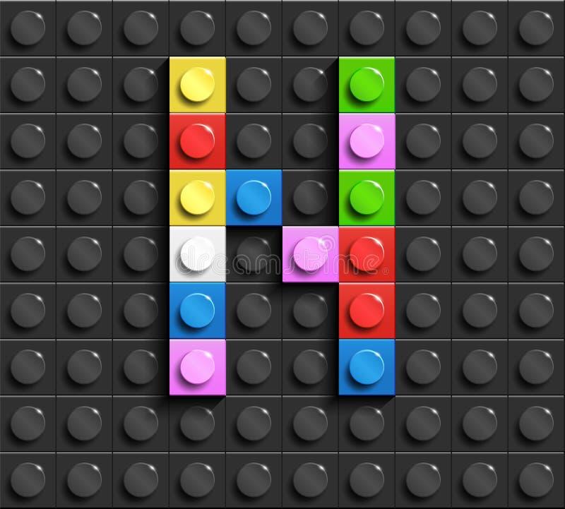 Красочные письма n алфавита от кирпичей lego здания на черной предпосылке кирпича lego предпосылка lego письма 3d иллюстрация вектора