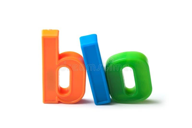 красочные пластиковые письма на белой предпосылке - био стоковые изображения rf