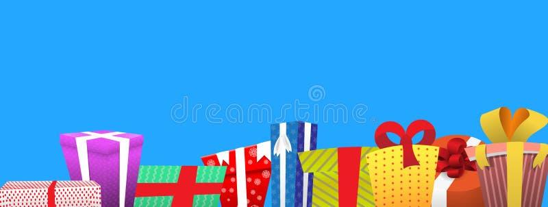 Красочные подарочные коробки с смычками и лентами иллюстрация вектора
