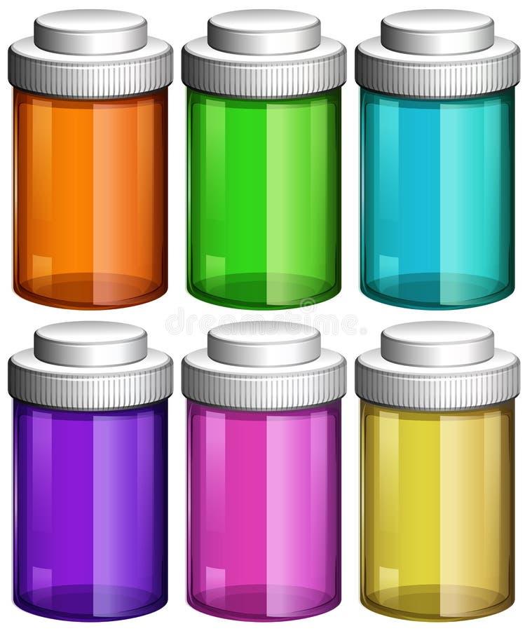 Красочные прозрачные бутылки бесплатная иллюстрация