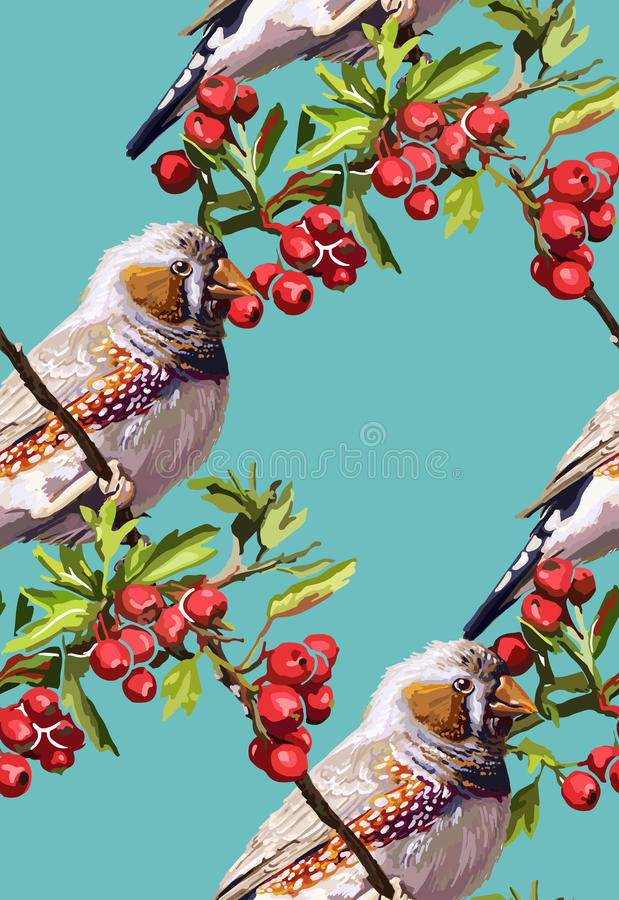 красочные птица, цветок и рябина бесплатная иллюстрация