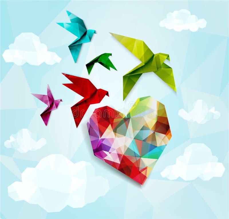 Красочные птицы origami с предпосылкой сердца Иллюстрация вектора, EPS10 бесплатная иллюстрация
