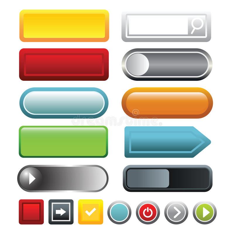 Красочные пустые значки кнопки сети установили, стиль шаржа иллюстрация вектора