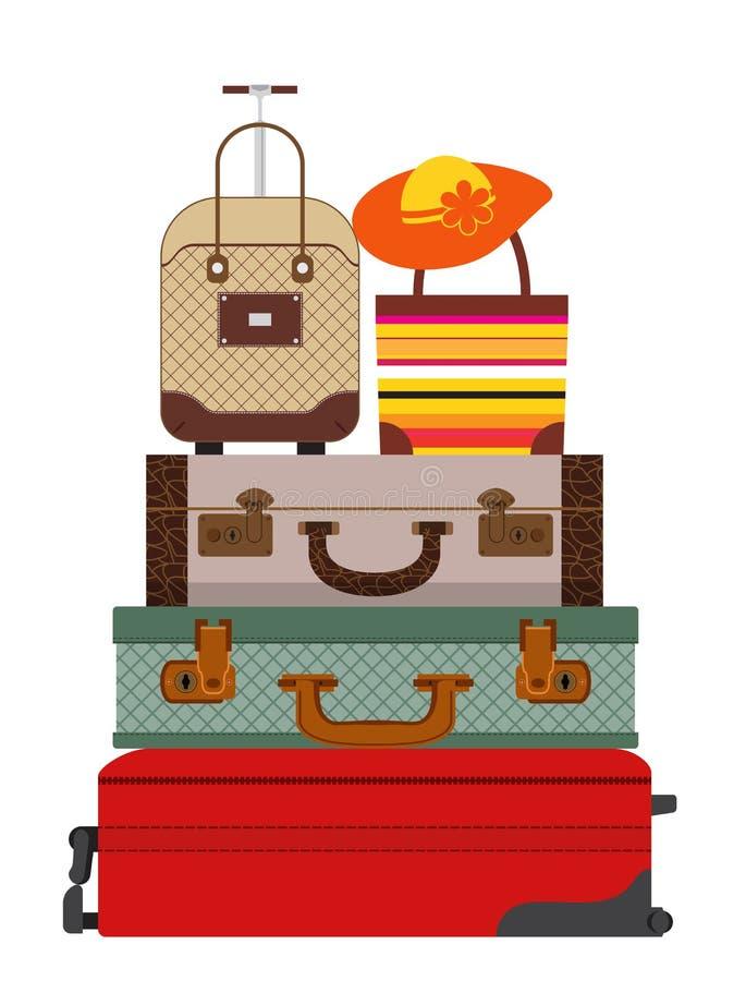 Красочные разные виды багажа Плоский дизайн вектор иллюстрация вектора