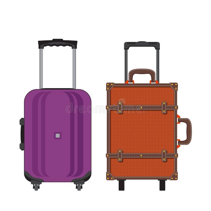Красочные разные виды багажа Плоский дизайн вектор бесплатная иллюстрация