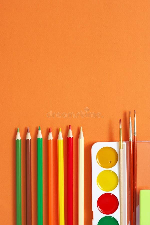 Красочные рисуя детали установили на апельсин стоковое изображение