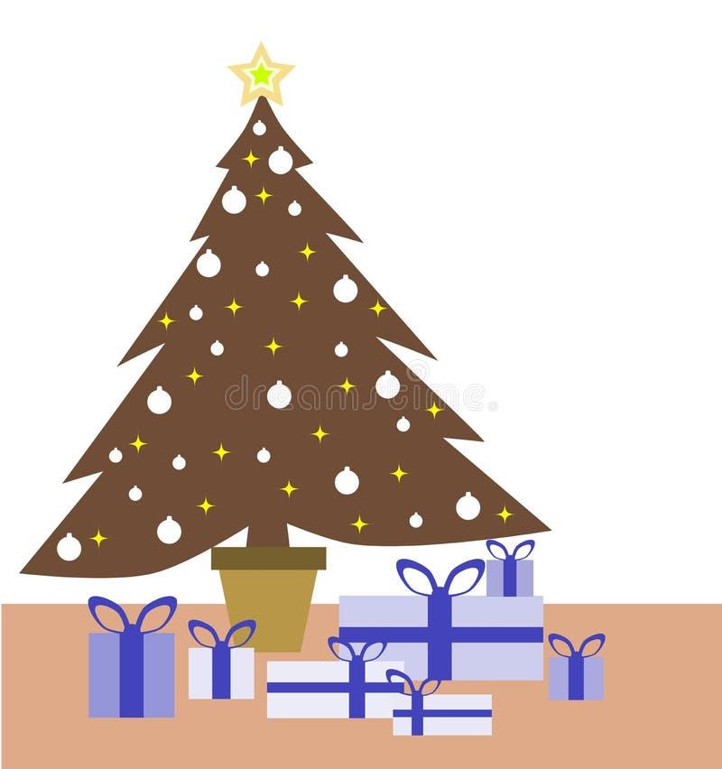 Красочные рождественская елка и подарки иллюстрация штока