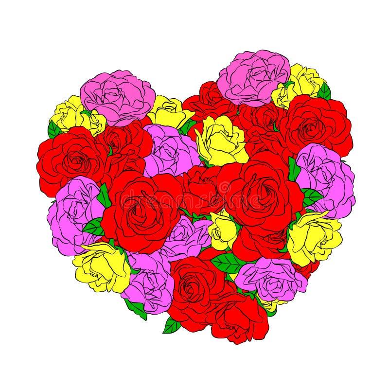 Красочные розы в форме сердца иллюстрация штока