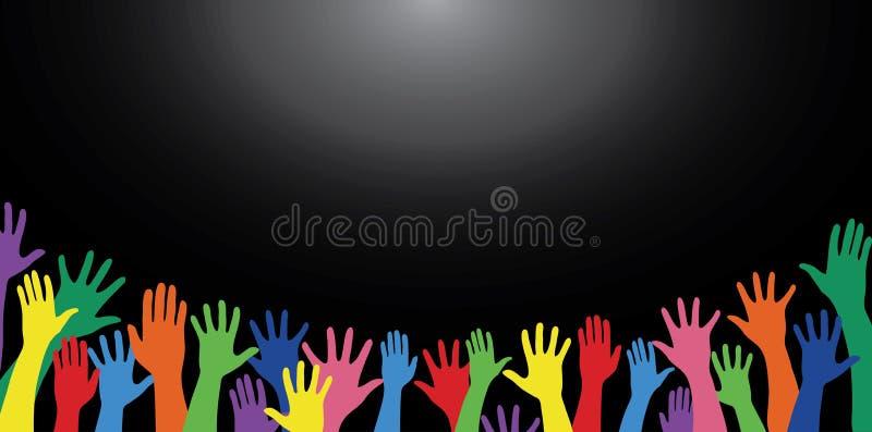 Красочные руки поднимают и вектор искусства предпосылки бесплатная иллюстрация