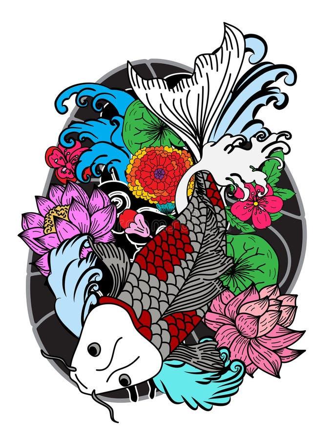 Красочные рыбы и цветок koi иллюстрация штока