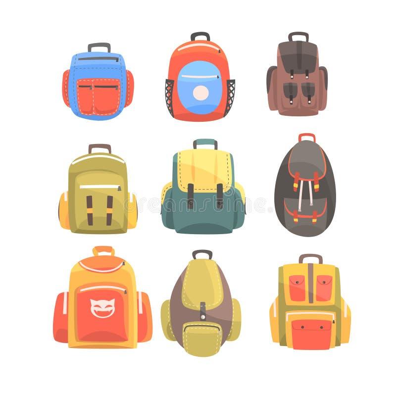 Красочные рюкзаки шаржа установленные сумки школы для дизайнов детей иллюстрация штока