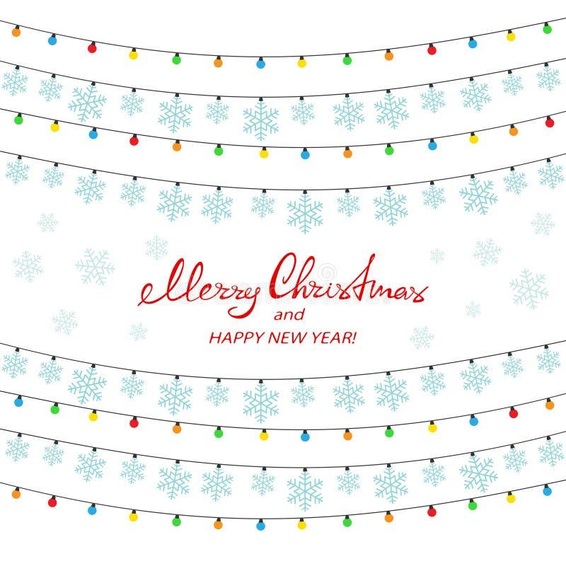 Красочные света и снежинки рождества на белой предпосылке иллюстрация вектора