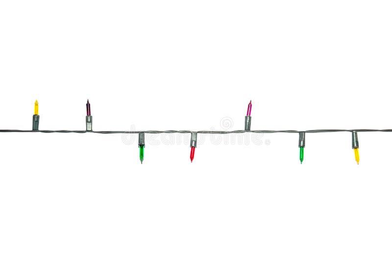 Красочные света рождества изолированные на белизне стоковая фотография rf