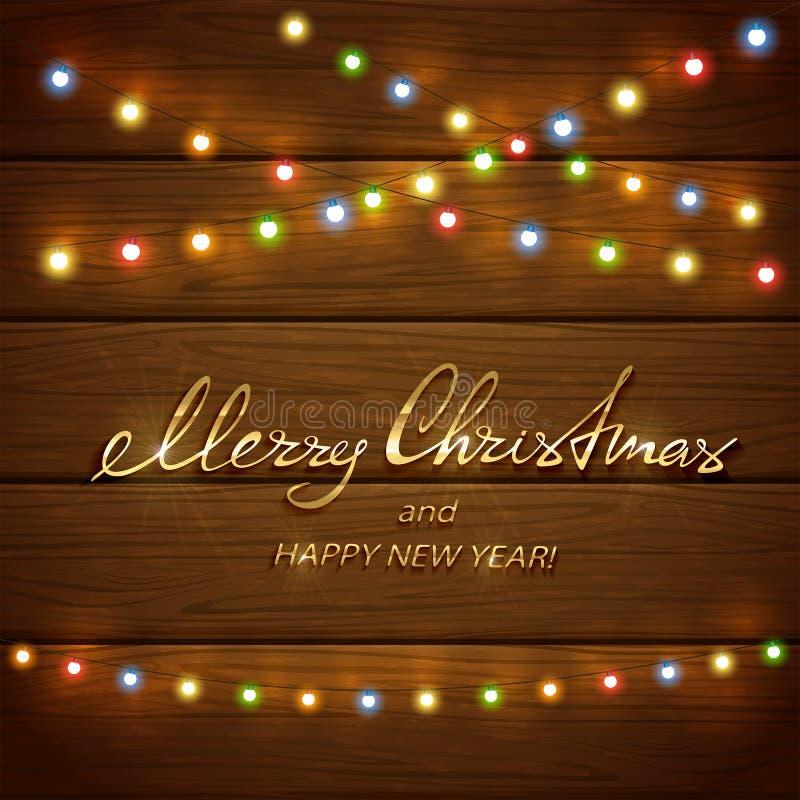 Красочные света рождества на деревянной предпосылке бесплатная иллюстрация