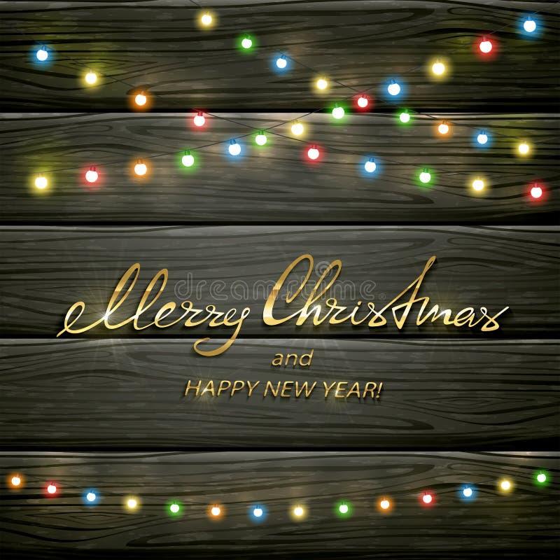 Красочные света рождества на черной деревянной предпосылке иллюстрация штока