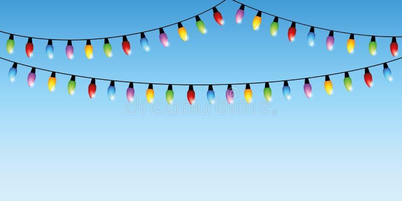 Красочные света феи на голубой предпосылке иллюстрация вектора