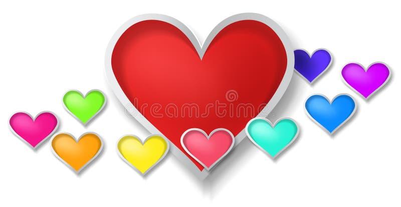 красочные сердца 3D с маленький окружать сердец  иллюстрация вектора