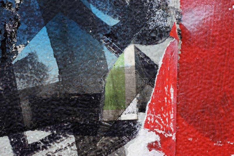 Красочные сорванные старые плакаты как абстрактное красочное текстурированное backgro стоковая фотография rf
