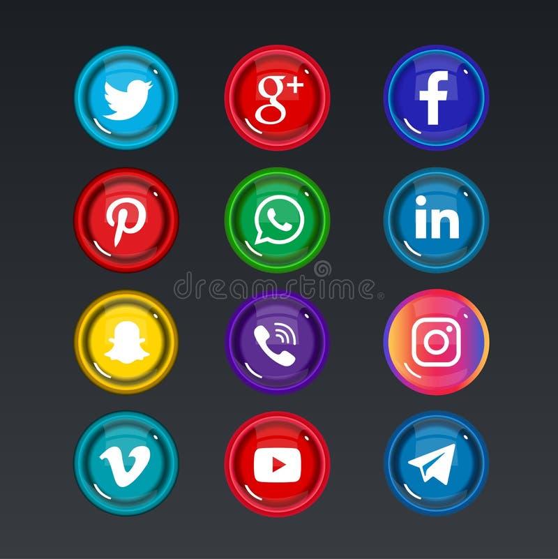 Красочные социальные значки средств массовой информации бесплатная иллюстрация