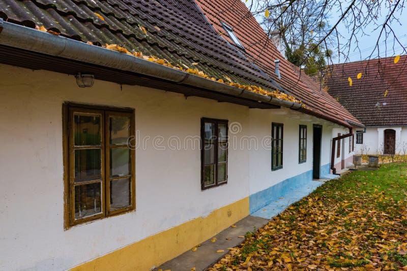 Красочные старые дома Анабаптиста в Velke Levare Словакии стоковые изображения rf