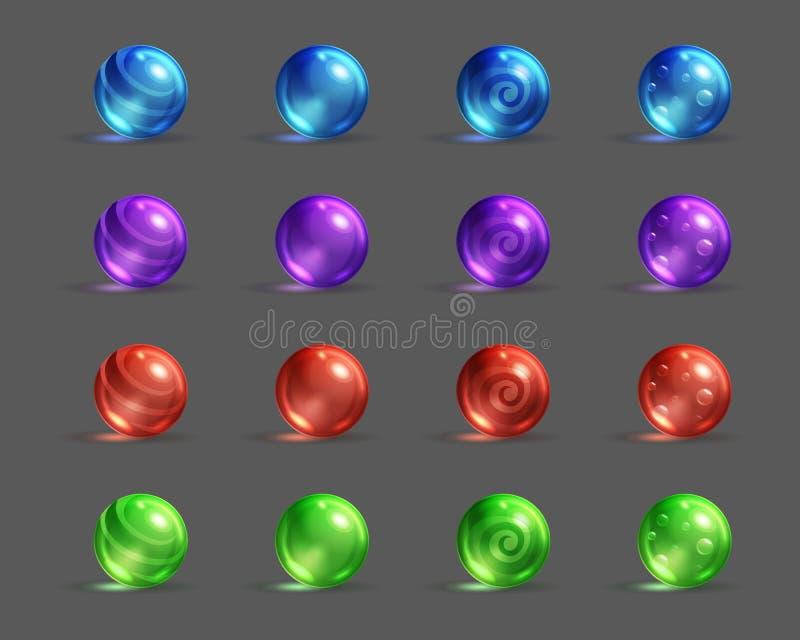 Красочные стекловидные волшебные шарики установили, имущества игры фантазии шаржа иллюстрация вектора
