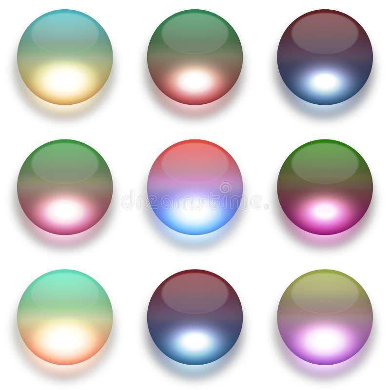 Красочные стеклянные глобусы изолированные на белизне бесплатная иллюстрация