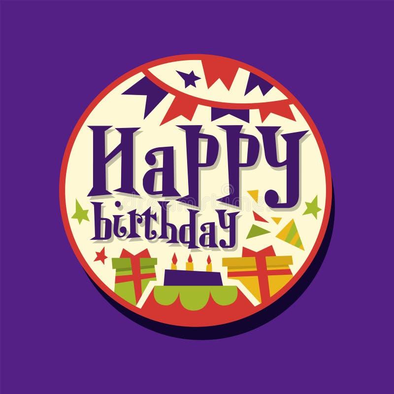 Красочные стикер или ярлык с днем рождений с подарками и гирляндой с флагами Праздник поздравительной открытки или приглашения иллюстрация штока