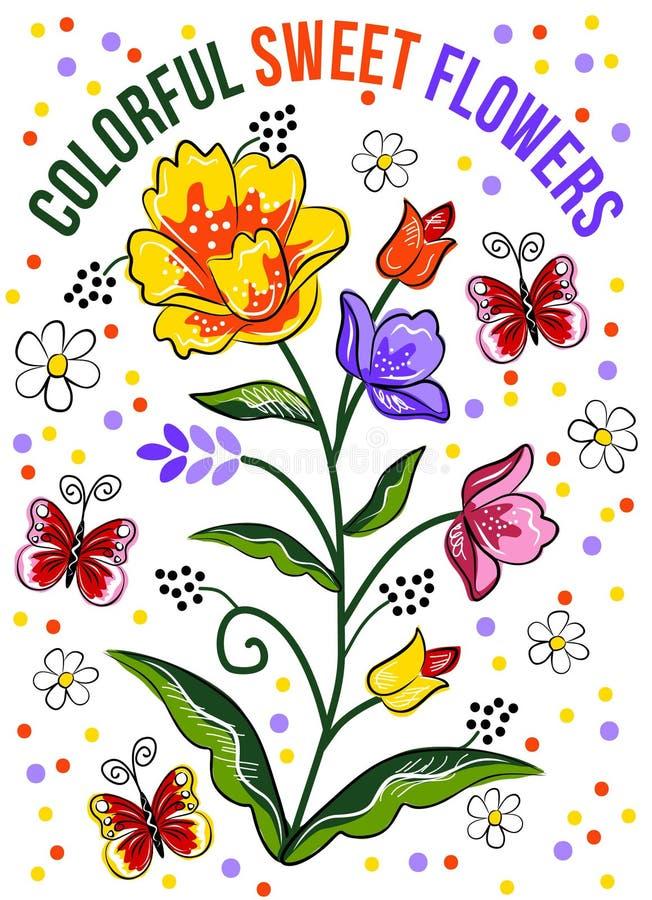 Красочные сладостные цветки Красивый дизайн оформления вектора для футболок иллюстрация штока