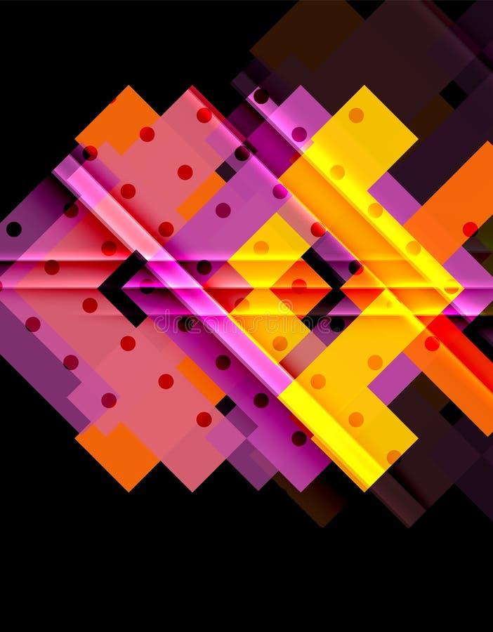 Красочные треугольники и стрелки на темной предпосылке бесплатная иллюстрация