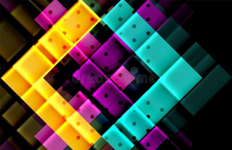 Красочные треугольники и стрелки на темной предпосылке иллюстрация штока