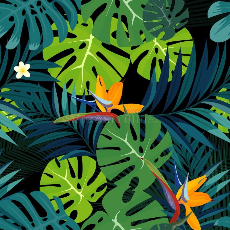 Красочные тропические цветок, завод и лист делают по образцу предпосылку бесплатная иллюстрация