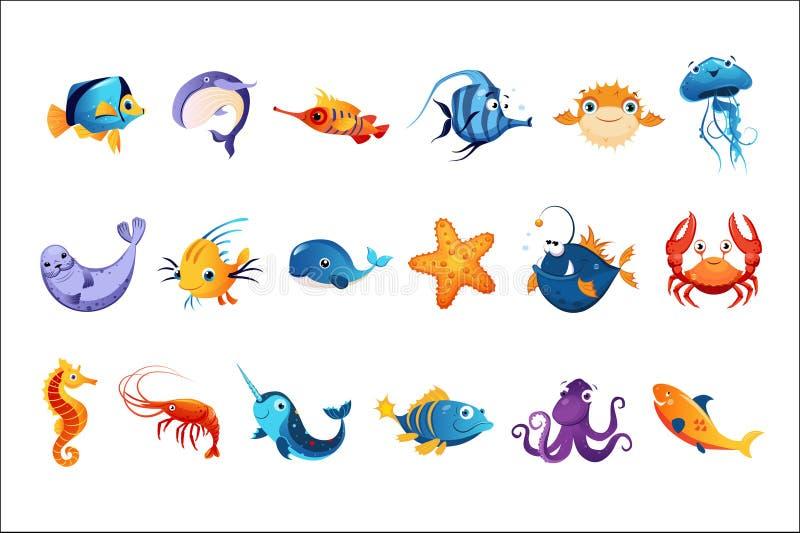 Красочные установленные морские животные иллюстрация штока