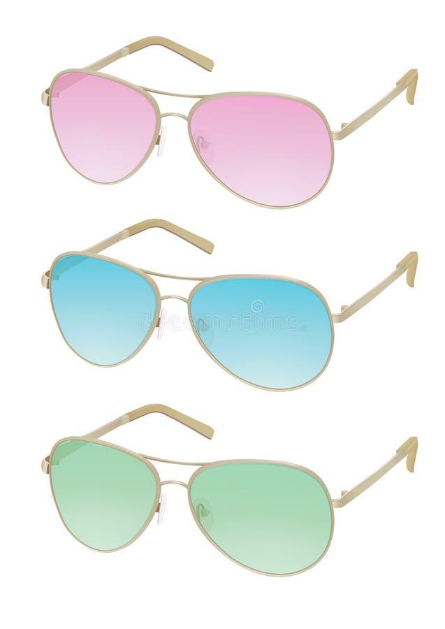 Красочные установленные солнечные очки, vector реалистическая иллюстрация Стильные стекла моды с розовыми, голубыми, зелеными объ иллюстрация вектора
