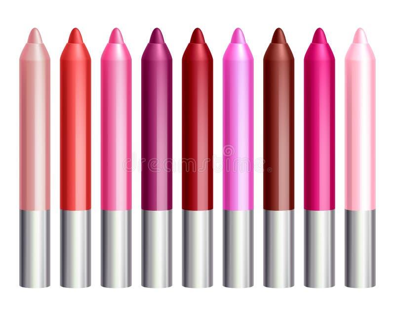 Красочные установленные карандаши лоска губы бесплатная иллюстрация