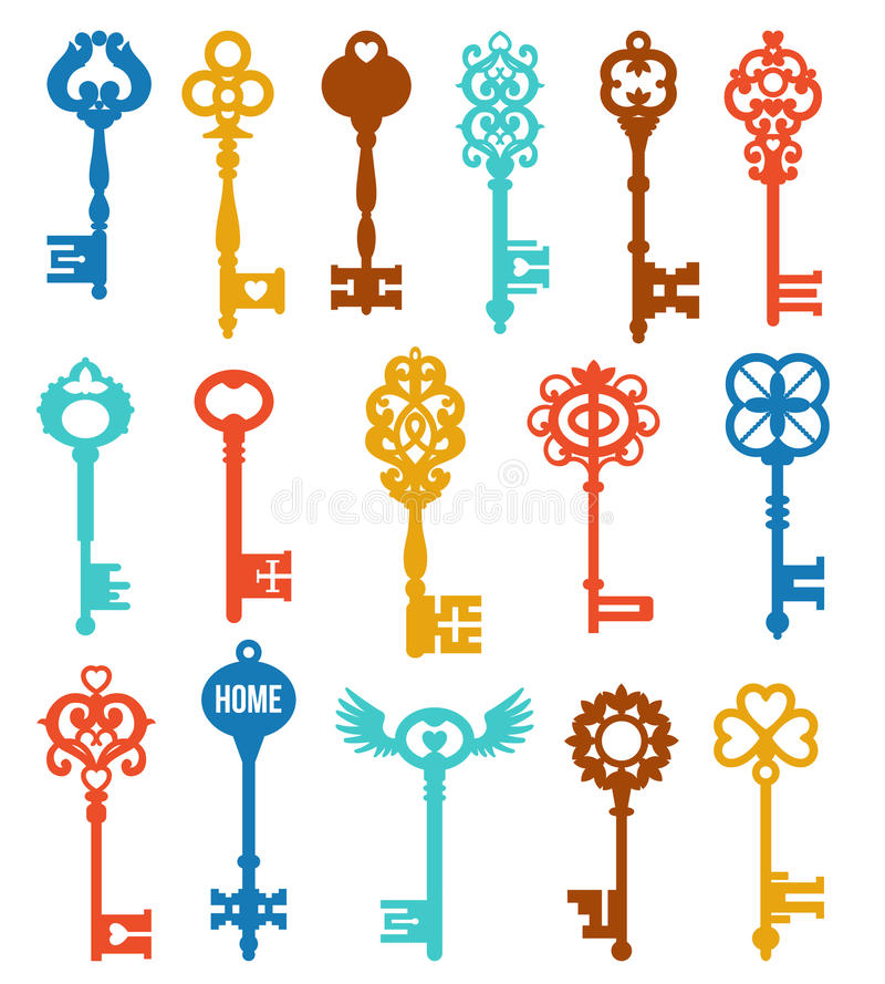 Красочные установленные ключи иллюстрация штока
