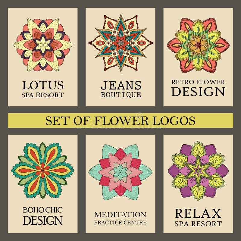 Красочные установленные логотипы цветков иллюстрация штока