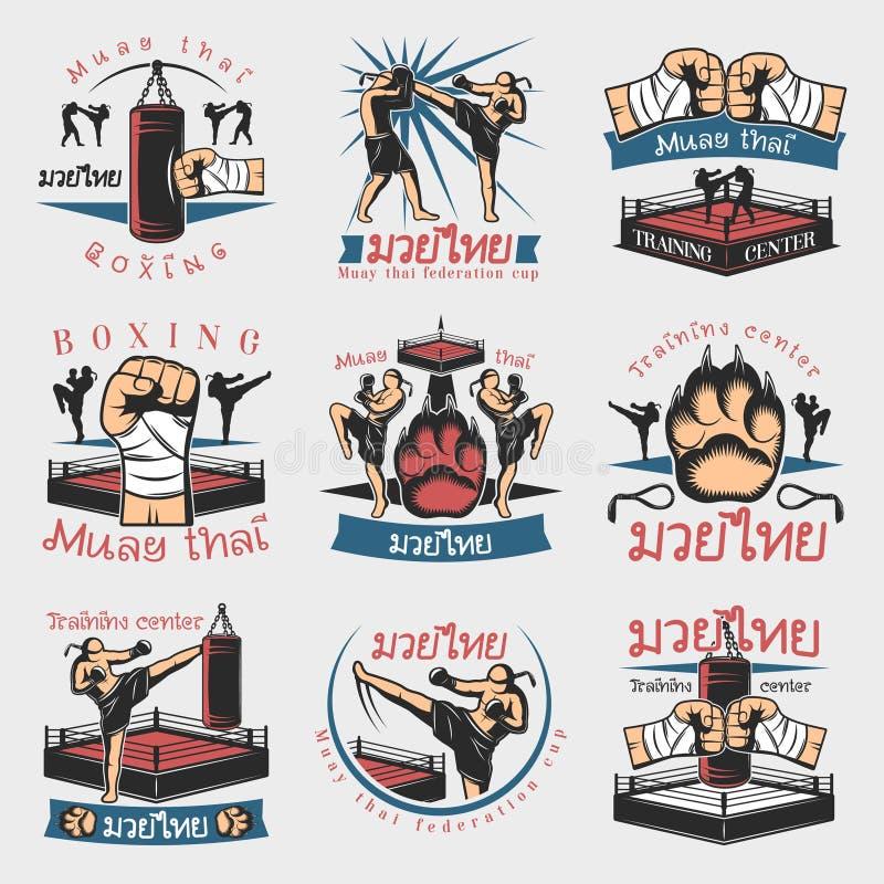 Красочные установленные эмблемы Kickboxing иллюстрация штока