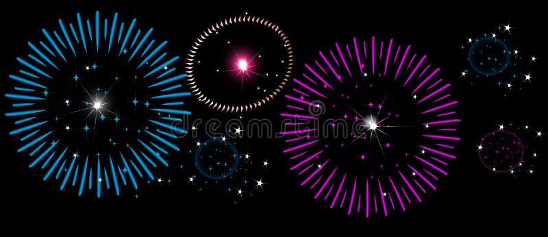 Красочные фейерверки на ночном небе, Новом Годе, Дне независимости бесплатная иллюстрация
