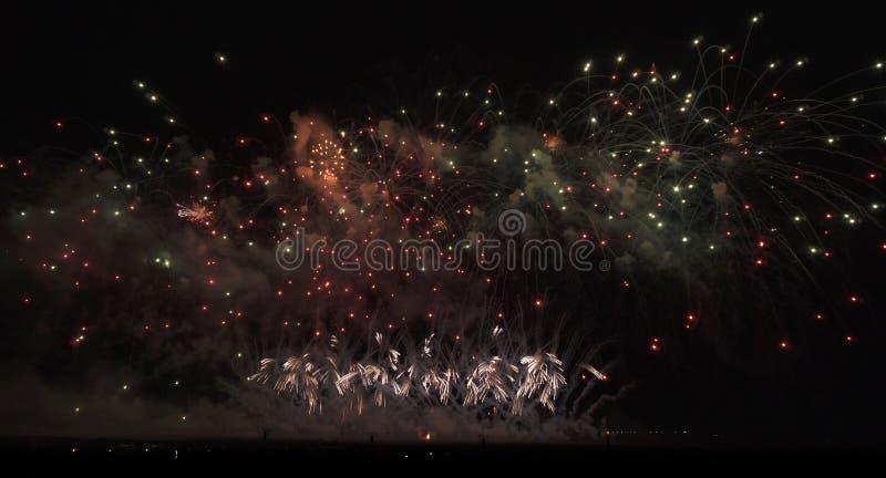 Красочные фейерверки на черной предпосылке неба стоковое изображение rf