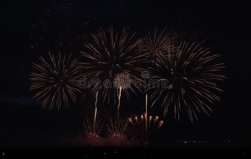 Красочные фейерверки на черной предпосылке неба стоковая фотография rf