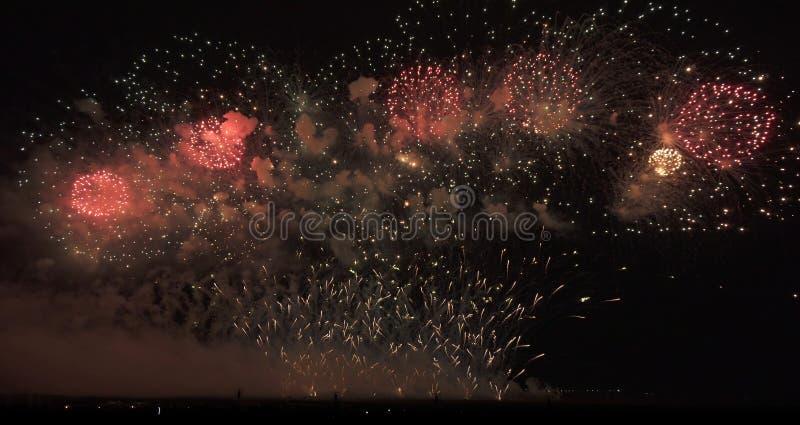 Красочные фейерверки на черной предпосылке неба стоковое фото rf