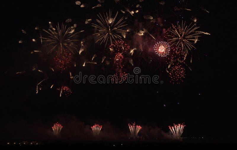 Красочные фейерверки на черной предпосылке неба стоковые фотографии rf