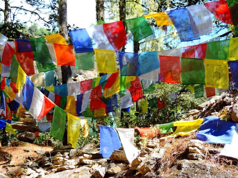 Красочные флаги на пути к Paro Taktsang Бутана стоковые изображения rf