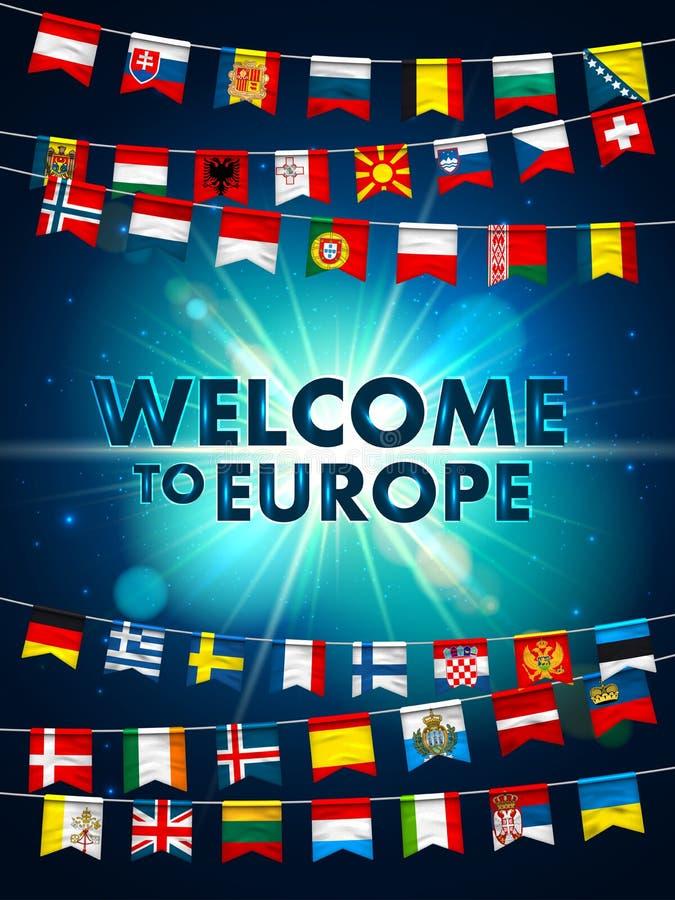Красочные флаги различных стран Европы на светить голубой предпосылке Праздничные гирлянды международного вымпела бесплатная иллюстрация